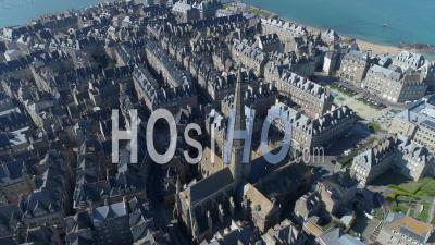 The Cathedral Saint-Vincent In The Intra Muros Saint-Malo City At Day16 Of Covid-19 Outbreak, France - Video Drone Footage