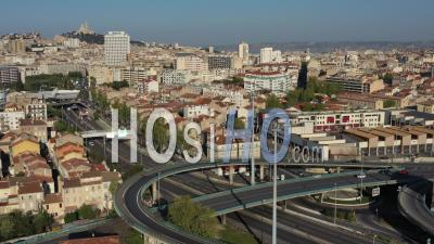 Low Traffic On Highway A50 In Marseille City At Day 24 Of Covid-19 Outbreak, France - Video Drone Footage