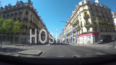 Inboard Video In A Car Running In Paris Streets During The Covid-19 Lockdown, Le Marais District And Saint-Antoine Street