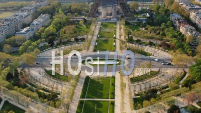 Eiffel Tower And Champ De Mars During The Quarantine Of Paris, High Focal, Drone Point Of View