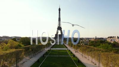 Medium Altitude Wide Angle Sight Of Eiffel Tower During The Quarantine Of Paris, Drone Point Of View