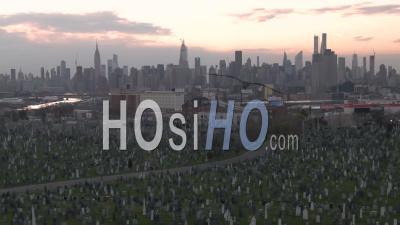 Aerial Of Vast Cemetery In New York City Suggests Losses From Coronavirus Covid-19 Pandemic Epidemic Outbreak Deaths. - Video Drone Footage