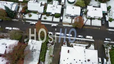 Top Down Aerial Over Snowy Winter Neighborhood, Houses, Suburbs In Snow In Portland, Oregon. - Video Drone Footage