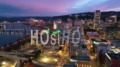 High Angle Of Downtown Business District Portland Oregon At Night. - Video Drone Footage