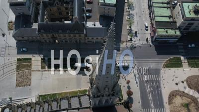 Aerial View Follow A Tramway In Desert Street Of Caen During Lockdown Due To Covid-19 - Video Drone Footage