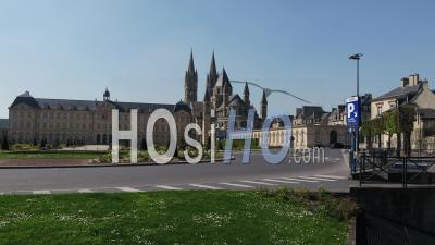 Aerial View On The Town Hall Of Caen During Lockdown Due To Covid-19 - Video Drone Footage