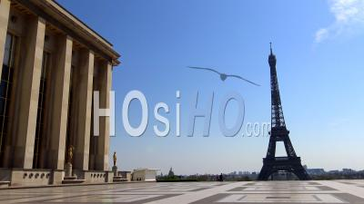 Paris Under Coronavirus Lockdown, Trocadero Square And Eiffel Tower