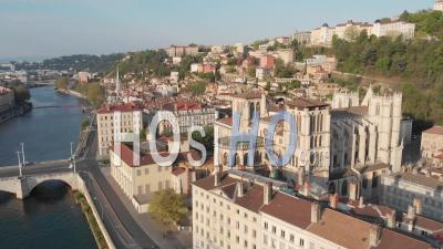 Deserted Streets And Quay In The Oldest Borough Of Lyon - Video Drone Footage