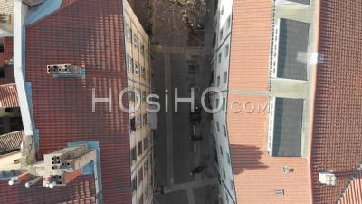 Top View Of The Empty Streets Of Lyon During The Pandemic Lockdown - Video Drone Footage