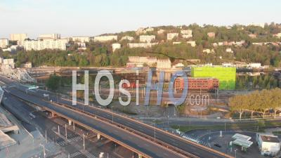 Traffic In Confluence District, City Of Lyon, During Covid 19 Lockdown - Video Drone Footage