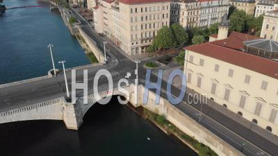 Empty Roads In The City Of Lyon During The Covid 19 Pandemic - Video Drone Footage
