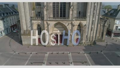 The Cathedral Notre Dame Place Of Coutances City, Normandy, France, During The Covid 19 Pandemic - Video Drone Footage