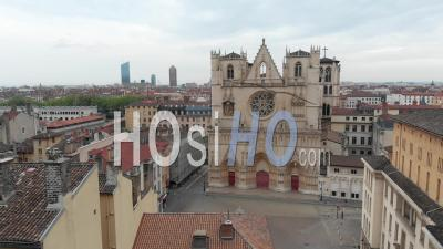 Saint Jean Cathedrale And City Of Lyon - Video Drone Footage
