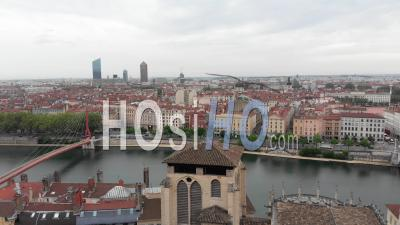 Cathedral Saint Jean And Cbd In Lyon During The Pandemic Lockdown - Video Drone Footage