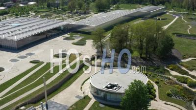 Empty City Of Lens During Lockdown Due To Covid-19 - Closed Louvre Lens Museum - Video Drone Footage