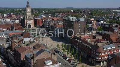 Empty City Of Lens During Lockdown Due To Covid-19 - City Hall And Beffroi - Video Drone Footage