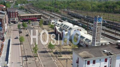 Empty Train Station Of Lens During Lockdown Due To Covid-19 - Video Drone Footage