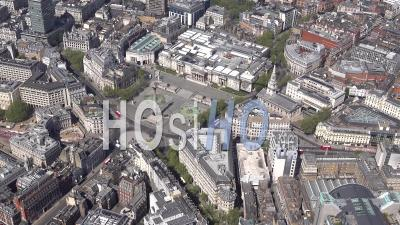 Trafalgar Square During Covid-19 Lockdown, London, Filmed By Helicopter
