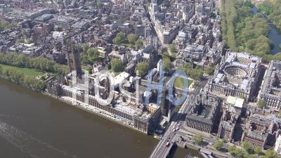 House Of Parliament, Parliament Square, Westminster Abbey And River Thames, During Covid-19 Lockdown, London, Filmed By Helicopter