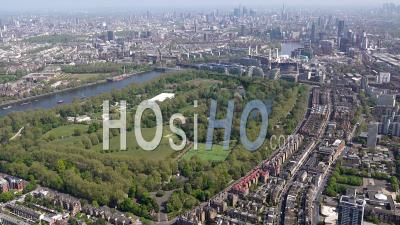 Battersea Power Station, Battersea Park And River Thames During Covid-19 Lockdown, London Filmed By Helicopter