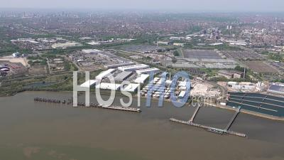 Beckton And Creekmouth During Covid-19 Lockdown, London Filmed By Helicopter