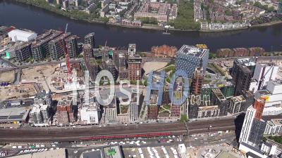 Us Embassy, Battersea And Battersea Power Station During Covid-19 Lockdown, London, Filmed By Helicopter