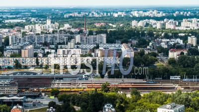 Warszawa Wschodnia Train Station, Warsaw, Warszawa - Video Drone Footage