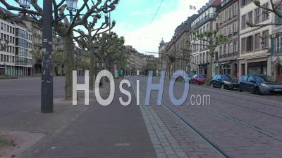 Empty City Of Strasbourg During Lockdown Due To Covid-19 - May 1st 2020, Labor Day - Place Broglie - Tram - Video Drone Footage