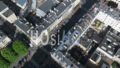 Street Saint Jean At Caen, And Desert Street During Lockdown Due To Covid-19 - Video Drone Footage