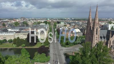 Empty City Of Strasbourg During Lockdown Due To Covid-19 - May 1st 2020, Labor Day - Avenue De La Liberte - Video Drone Footage