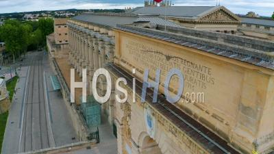 Montpellier And Its Triumphal Arch During The Covid-19 Epidemic, France - Video Drone Footage