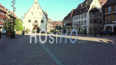 Empty City Of Obernai During Lockdown Due To Covid-19 - Market Place - Video Drone Footage