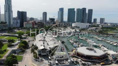 Covid-19 Aerial Footage Of Bayside Market, Downtown Miami - Video Drone Footage