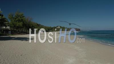Covid-19-Empty Touristic Beach Of Boucan Canot At Saint Paul, Reunion Island - Video Drone Footage