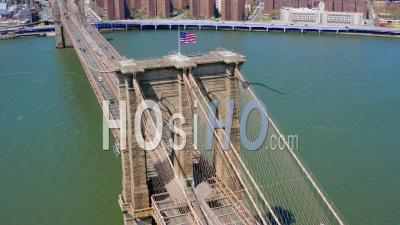 Brooklyn Bridge Manhattan New York During Covid-19 Pandemic - Video Drone Footage