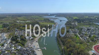 Auray River And The Port De Saint-Goustan At Auray At Day 19 Of Covid-19 Lockdown - Video Drone Footage