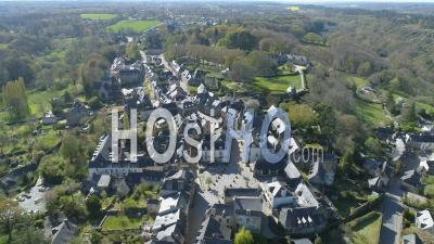 Aerial Video Rochefort-En-Terre At Day 19 Of Covid-19 Lockdown, Morbihan, Brittany, France - Video Drone Footage