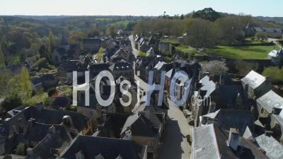 Rochefort-En-Terre At Day 19 Of Covid-19 Lockdown, Morbihan, Brittany, France - Video Drone Footage