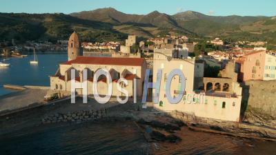 Church Notre Dame Des Anges At Sunrise, Collioure, Viewed From Drone