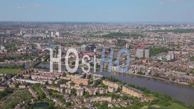 Hammersmith, Fulham, Barnes Et Tamise, Londres Filmé Par Hélicoptère