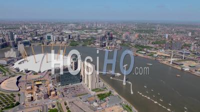 02 Arena, River Thames And Cable Car During Covid-19 Lockdown, London Filmed By Helicopter