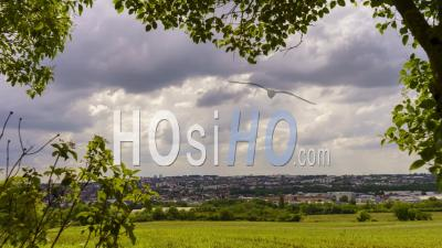 Timelapse, Clouds Passing On The City Of Auxerre, Bourgogne-Franche-Comte