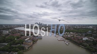Aerial View Shot Of Canary Wharf London Uk, United Kingdom - Video Drone Footage