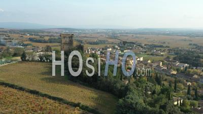 Châteauneuf-Du-Pape Village And Vineyards In Vaucluse - Video Drone Footage