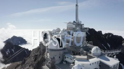 Going Away From Pic Du Midi Above Cloud Sea Viewed By Drone