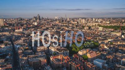 Establishing Aerial View Of London Uk, London Skyline, Mayfair West End - Video Drone Footage