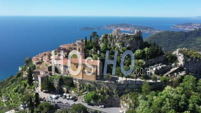 Aerial View Of Eze On The French Rivier - Video Drone Footage