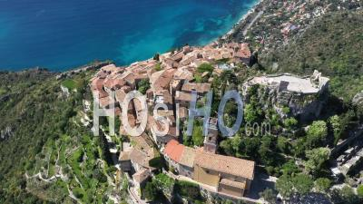 Aerial View Of Eze On The French Riviera - Video Drone Footage