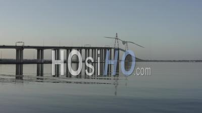 Saint-Nazaire's Bridge In Industrial Area In France, Loire-Atlantique - Video Drone Footage 4k