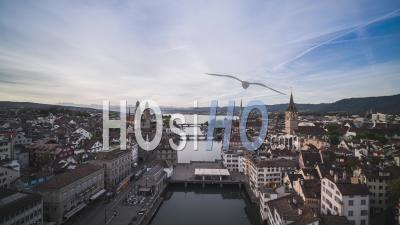 Aerial View Shot Of Zurich, Iconic Old Town, Switzerland - Video Drone Footage